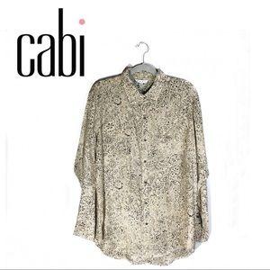 NWT CAbi Graphic Print Silk Top